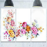 yellow and pink flowers modern floral art canvas print PT7466