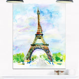 eiffel tower against blue sky watercolor canvas art print PT7470