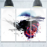 dark blue abstract splashes abstract digital art canvas print PT7480