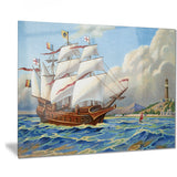 ancient boat drifting in sea seascape painting canvas print PT7481