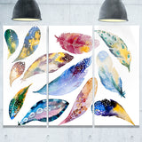 hand drawn feather set watercolor canvas art print PT7492