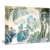 blue chinese landscape painting floral canvas art print PT7493