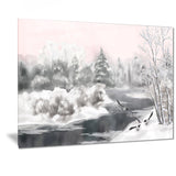 grey winter vector landscape watercolor canvas art print PT7521