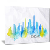 chicago blue green silhouette – cityscape canvas print PT7535