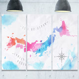 japan map watercolor canvas wall art print PT7539