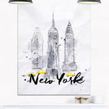 new york buildings watercolor painting cityscape canvas print PT7600
