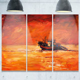 fishing boat in red hue seascape panting canvas print PT7624
