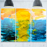 sea texture in yellow blue abstract painting canvas print PT7634