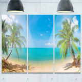 tropical beach with coconut trees landscape photo canvas print PT7657