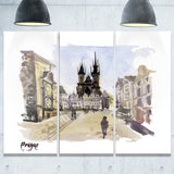 prague hand drawn illustration cityscape painting canvas print PT7759