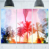 retro palm trees long view landscape painting canvas print PT7797