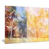 retro palms in yellow shade landscape painting canvas print PT7799