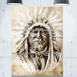 american indian head tattoo sketch portrait canvas print PT7806