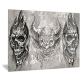 3 demons tattoo sketch portrait digital art canvas print PT7807