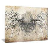 human skull tattoo sketch digital art canvas print PT7820