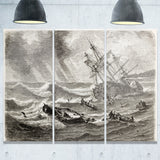 vintage shipwreck seascape painting canvas print PT7849