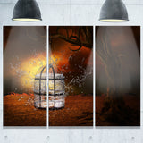 water locked cage abstract digital art canvas print PT7862