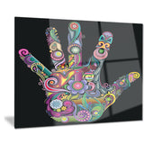 rainbow hand with multi colors abstract digital art canvas print PT7898