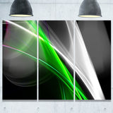 fractal lines green white abstract digital art canvas print PT7916