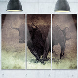 bull running on vintage paper animal digital art canvas print PT7955