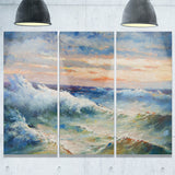 waves during storm seascape painting canvas art print PT7960