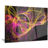 wisps of smoke yellow in black abstract digital art canvas print PT7970