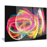 colorful thick strokes in black abstract digital canvas print PT8021