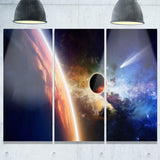 planet and comet in space modern spacescape canvas print PT8073