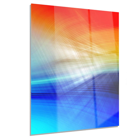 3D Mix of Red Blue Yellow - Abstract Digital Art Metal Wall Art - MT8153 - 12x28