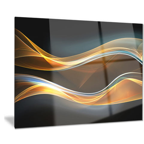 3D Gold Waves in Black - Abstract Digital Art Metal Wall Art - MT8220