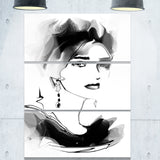 pretty woman black portrait digital art canvas print PT8238
