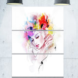 girl with flowers wreath portrait digital art canvas print PT8250