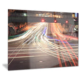 light traces on crossroad cityscape digital art canvas print PT8267