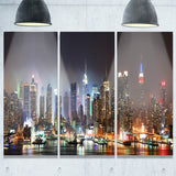 lit nyc manhattan skyline cityscape photo canvas print PT8281