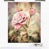 vintage pink roses with water drops floral canvas art print PT8293