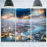 aerial view of london at dusk cityscape photo canvas print PT8297