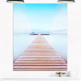 wooden pier in cold atmosphere seascape photo canvas print PT8356