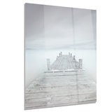 wooden pier in cloudy mood seascape photo canvas print PT8357