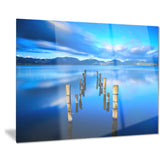 wooden pier remains in blue sea seascape photo canvas print PT8361