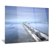 dark blue sky and large pier seascape photo canvas print PT8391