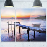 old wooden pier at sunset seascape photo canvas print PT8395