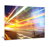 car light trails in hong kong cityscape photo canvas print PT8429