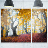yellow forest autumn trail landscape photo canvas print PT8493
