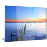 summer sea with wooden pier seascape photo canvas print PT8647