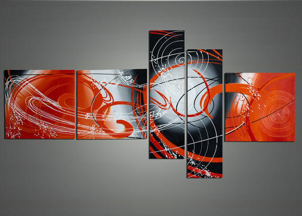 Large Orange Abstract Painting 1004 - 66 x 36in