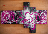 Purple Abstract Painting 1006 - 66 x 36in