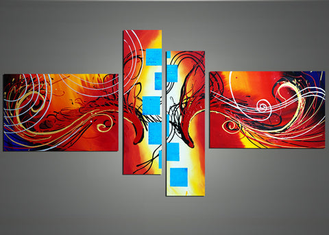 Modern Orange Art Painting 1010- 64x34in