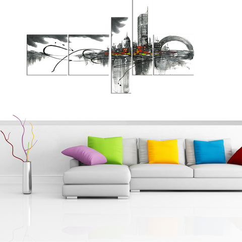 Black and White Architecture Painting 1012 - 63x33in