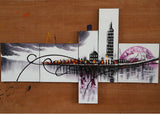 Purple Architecture Painting 1028 - 63x33in