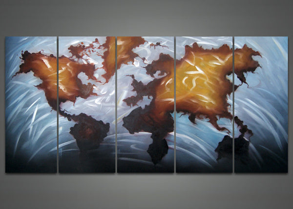 World Map Oil Painting 1030 - 60x32in